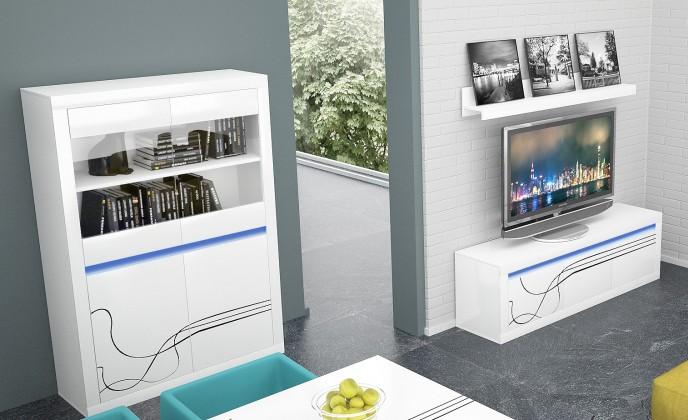Obývacia stena Lino - Obývacia zostava, police, nízka komoda, vitrína (biela)
