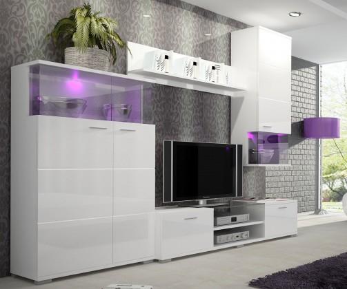 Obývacia stena Luis - Obývacia stena, RTV komoda (biela)