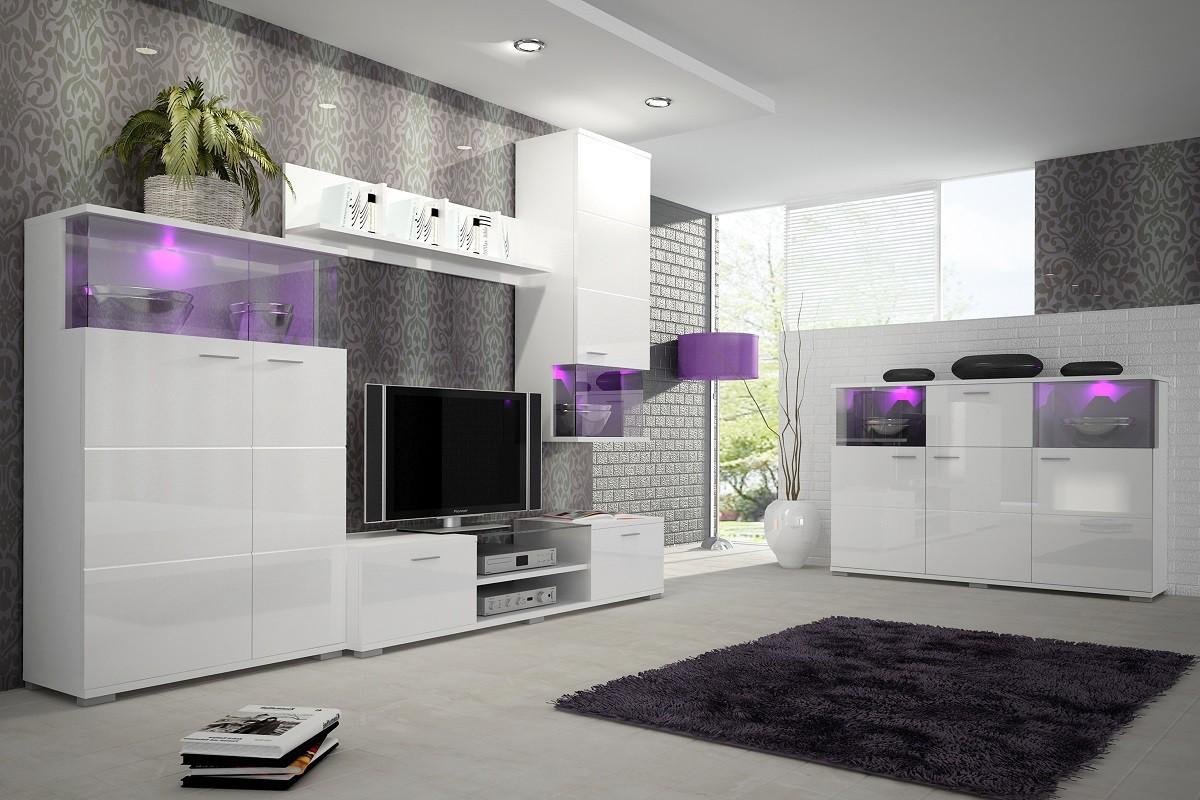 Obývacia stena Luis - Obývacia stena, RTV komoda, komoda (biela)