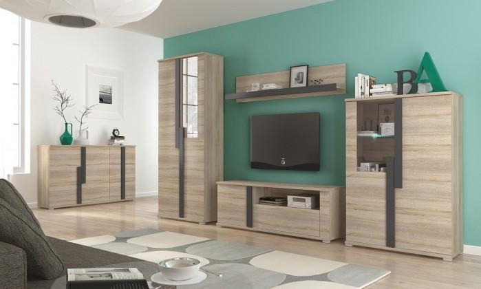 Obývacia stena Markus - Obývacia stena, 2x vitrína, komoda, LED (dub sonoma)