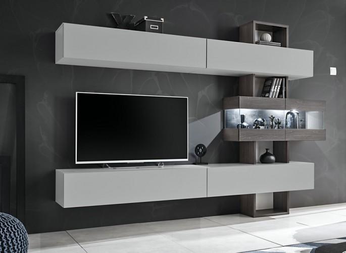 Obývacia stena Naduk (dub grafit, perla gray)