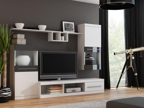Obývacia stena Nick - Obývacia stena (biela/biela,čierna lesk)