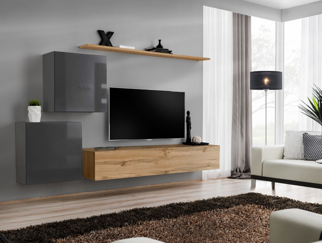Obývacia stena Obývacia stena Switch (dub wotan/sivá)