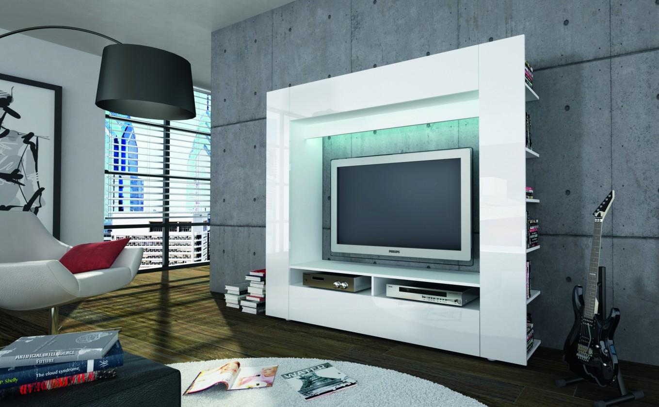 Obývacia stena Olli (biela/biela vysoký lesk)