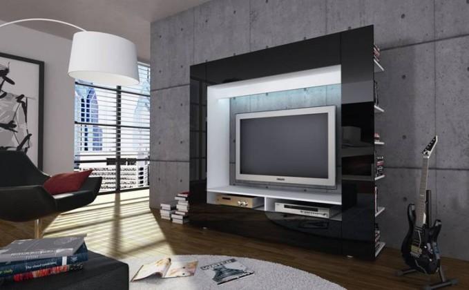 Obývacia stena Olli (biela/čierna vysoký lesk)