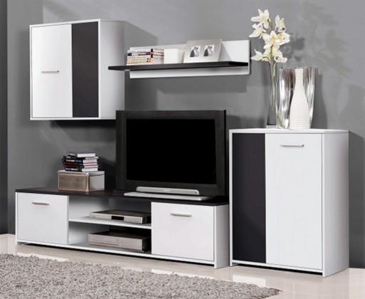 Obývacia stena Paco PCOM02-V05(biela/čierna)