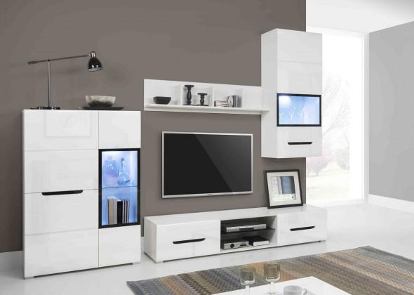 Obývacia stena Pedro - Obývacia stena, 2x vitrína, polica, RTV komoda (biela)