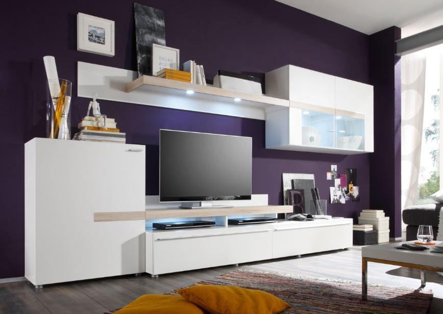 Obývacia stena Piano - Obývací stena (biela / dub sonoma / sklo)