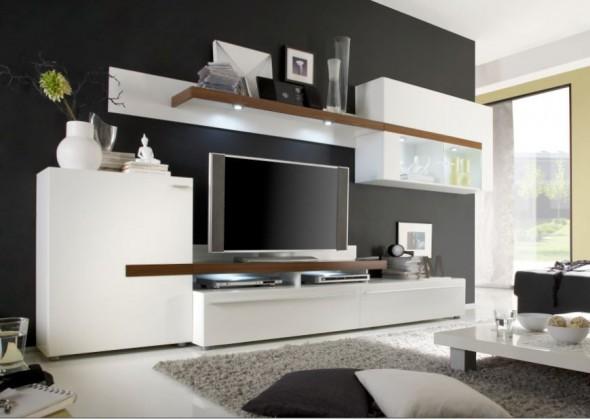 Obývacia stena Piano - Obývací stena (biela / orech virginia / sklo)