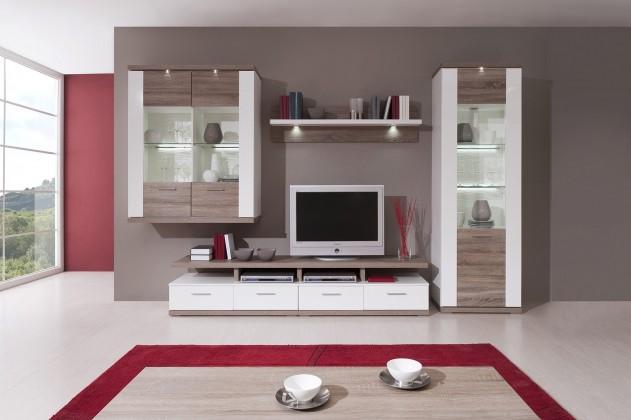 Obývacia stena Portoriko - Kombi 02 B (biela/biela vysoký lesk/dub truffel)
