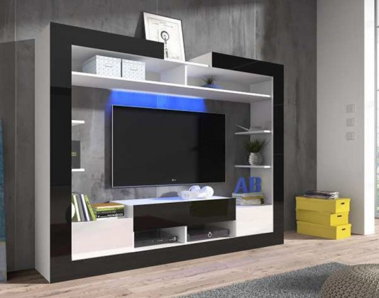Obývacia stena Sek - obývacia stena (biela/čierna/biela)