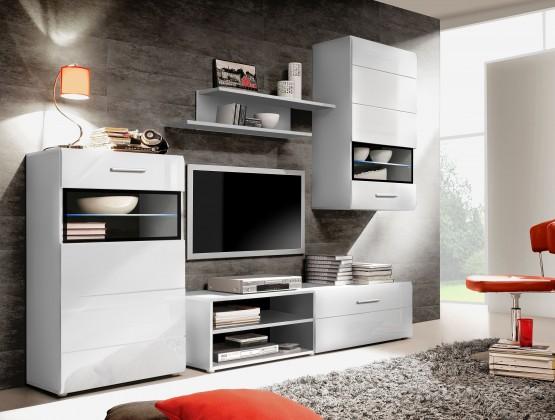 Obývacia stena Slate-STXM12B-Q11(biela mat/biela lesk/černá mat)