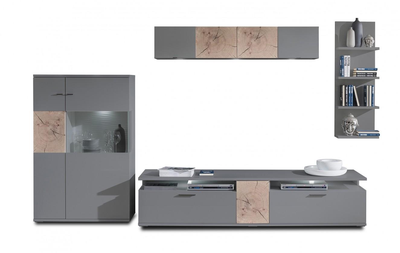 Obývacia stena Toro - Kombi 14 (antracit/antracit super lesk/sand remo)