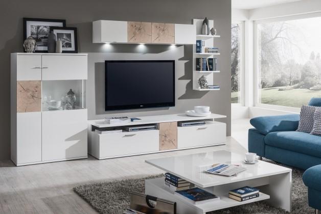 Obývacia stena Toro - Kombi 14 (biela/biela super lesk/rez hranolom sand remo)