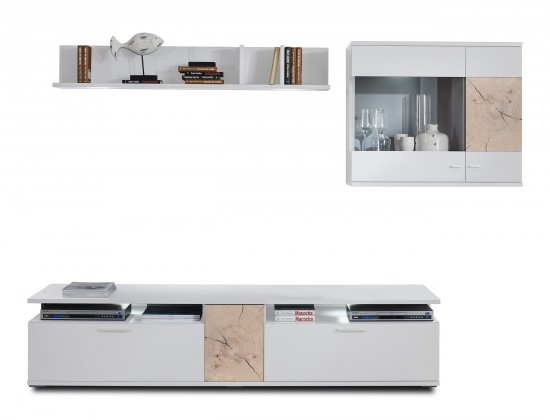 Obývacia stena Toro - Kombi 18 (biela/biela super lesk/rez hranolom sand remo)