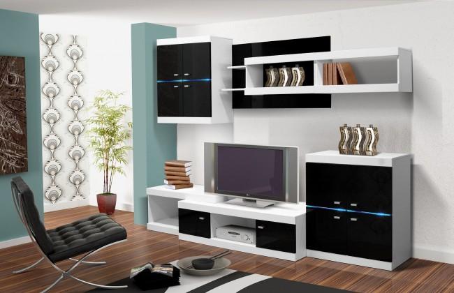 Obývacia stena Viktor 1 (biela / čierna lesk)