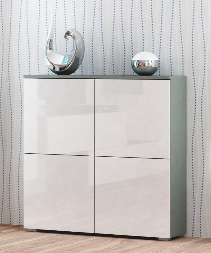 Obývacie izby ZĽAVNENÉ Livo - Komoda 100 (šedá mat/bílá lesk)