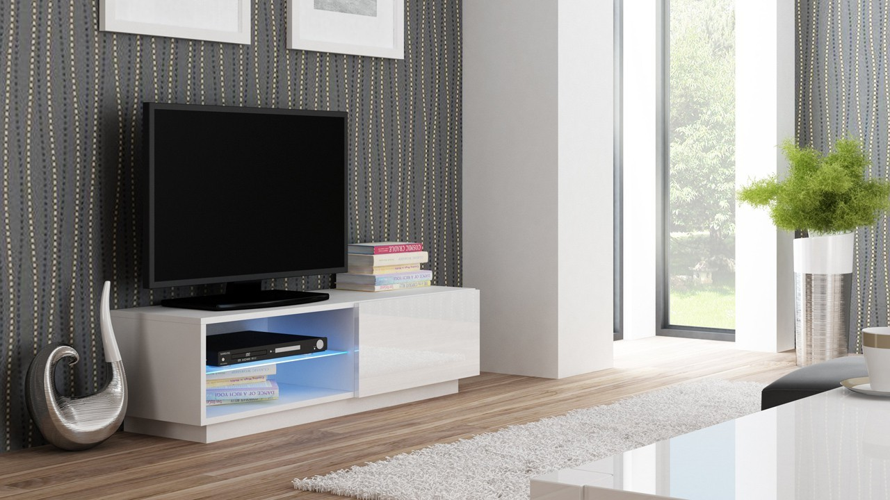 Obývacie izby ZĽAVNENÉ Livo - TV stolík 120 stojící (bílá mat/bílá lesk)