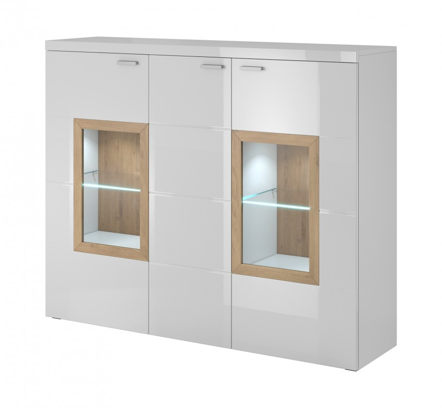 Obývacie izby ZLACNENÉ Box In - Komoda, sklo (biely korpus/biely front, dub okraje)
