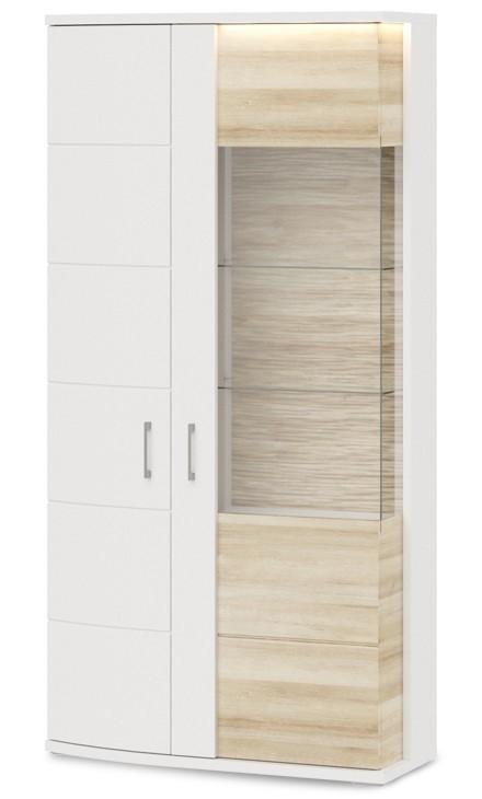 Obývacie izby ZLACNENÉ Cino - Typ01 (biela arctic/biela arctic vysoký lesk/dub riviera)