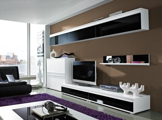Obývacie izby ZLACNENÉ Freestyle - Obývacia stena, set GW (biela/čierna, biela)