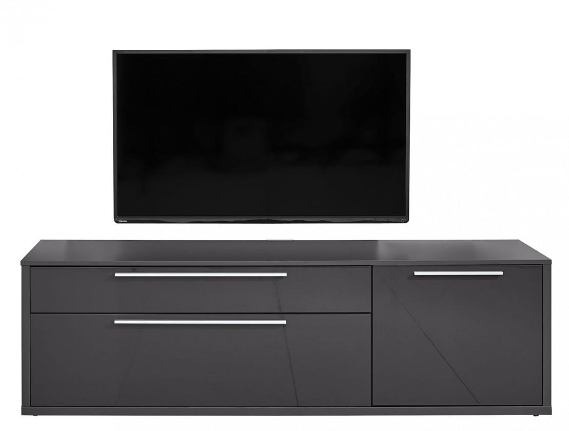Obývacie izby ZLACNENÉ Gamble - TV stolík 570154 (antracit/antracit lesk) - II. akosť