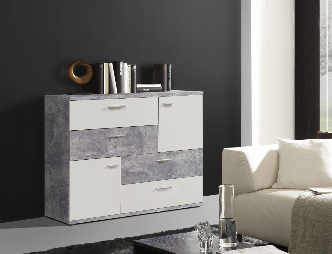 Obývacie izby ZLACNENÉ Komoda Skive (světlý beton/bílá)