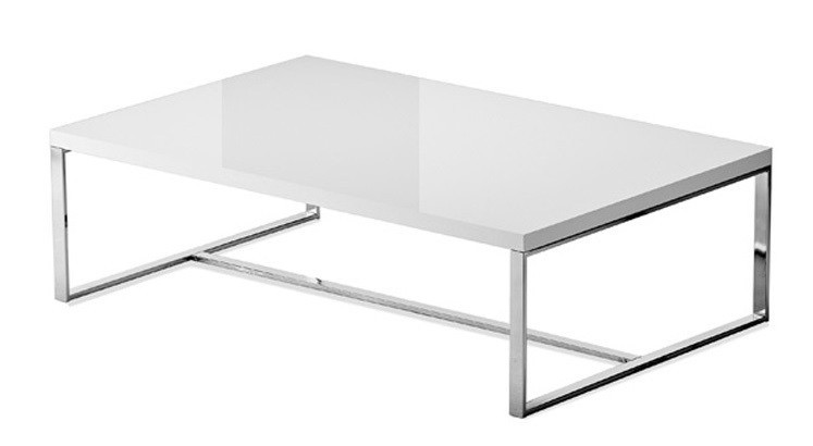 Obývacie izby ZLACNENÉ Konferenčný stolík Sushi-C (biela, chróm) - II. akosť
