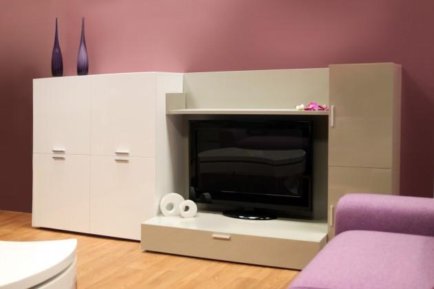 Obývacie izby ZLACNENÉ Obývacia stena Fizzy 05 (Bianco/Titanio) - II. akosť