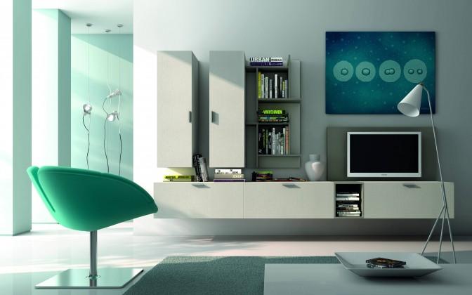 Obývacie izby ZLACNENÉ Obývacia stena Fizzy 11 (mat biela/sivá/lesk sivá) - II. akosť