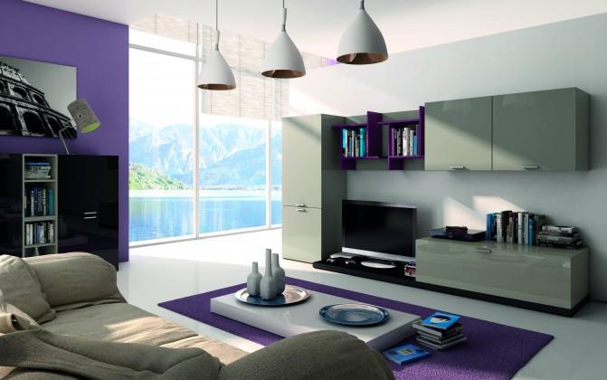 Obývacie izby ZLACNENÉ Obývacia stena Fizzy (Titanio/Nero/Viola) - II. akosť
