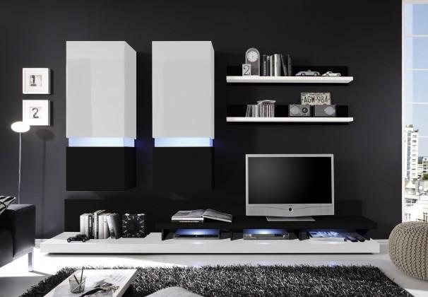 Obývacie izby ZLACNENÉ Obývacia stena Frisco (biela/čierna VL) - II. akosť