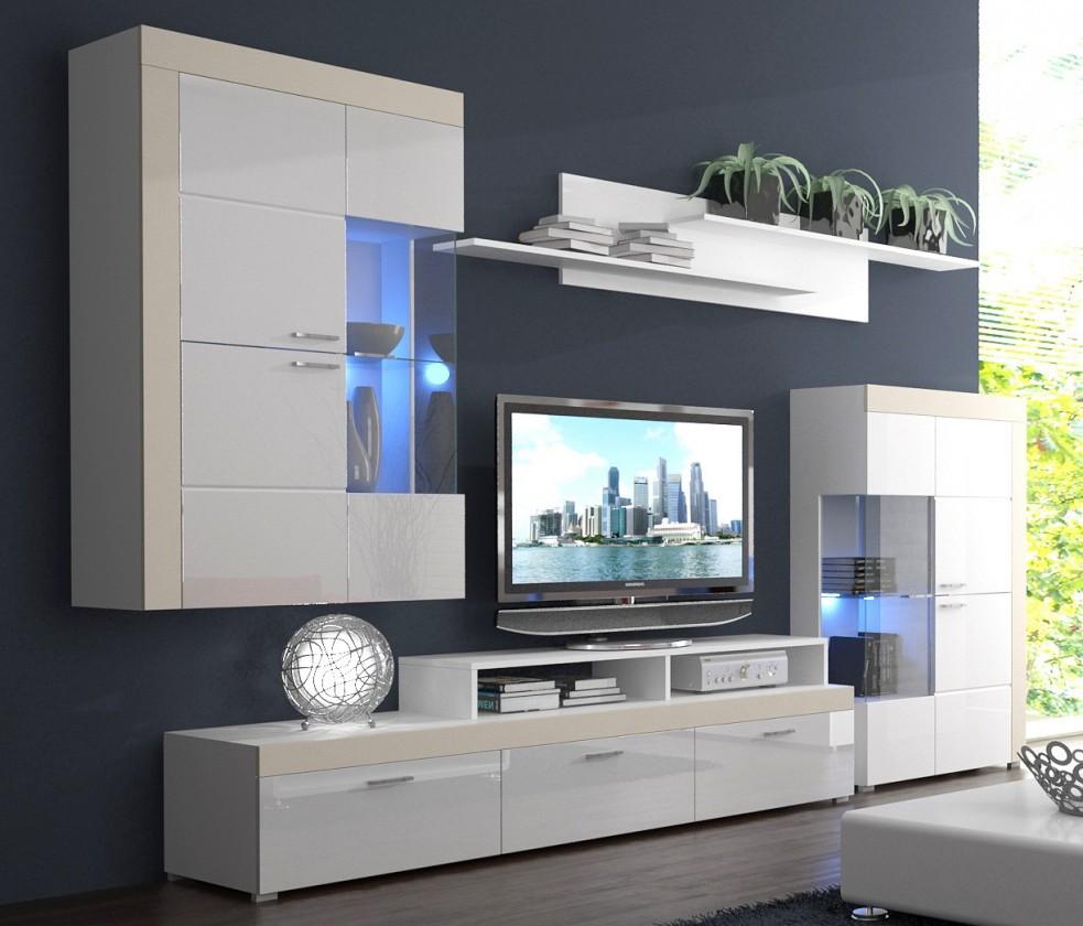 Obývacie izby ZLACNENÉ Pablo - Obývacia stena (biela, korpus/biela lesk/béžové detaily)