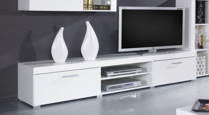Obývacie izby ZLACNENÉ Samba (regal 8) biela / biela