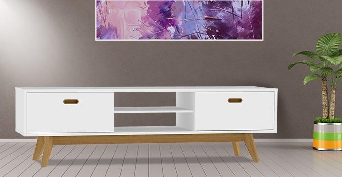 Obývacie izby ZLACNENÉ TV stolík BESS 2162-001 (biela/dub) - II. akosť