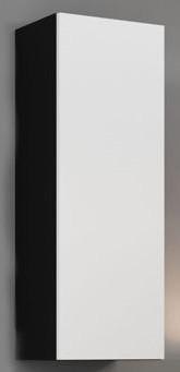 Obývacie izby ZLACNENÉ Vigo-Vitrína závesná, 1x dvere (čierna mat/biela VL) - II. akosť