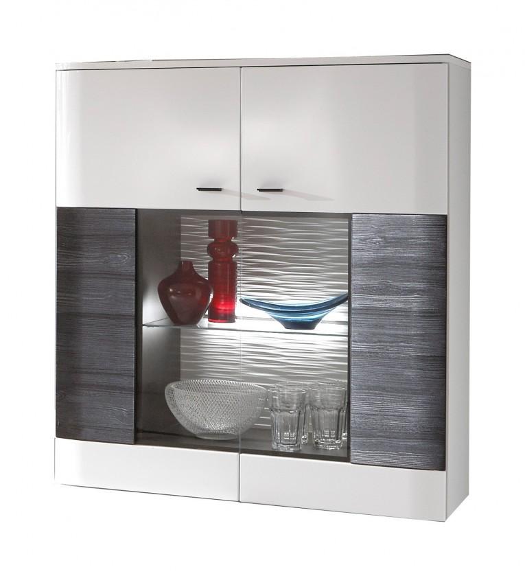 Obývacie izby ZLACNENÉ Vitrína Denver - Typ 04 (biela arctic/čierna) - II. akosť