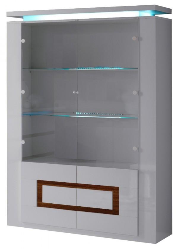 Obývacie izby ZLACNENÉ Vitrína Diva 4x dvierka (biela/orech) - II. akosť