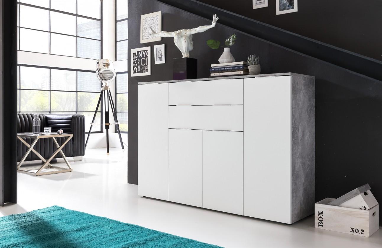 Obývacie izby ZLACNENÉ Viva - Obývacia komoda veľká (cement sivá/biela) - II. akosť