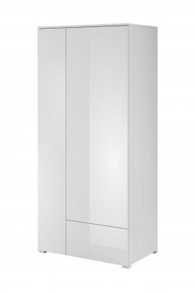 Obývacie skrine Obývačková skriňa Simple (biela, biela lesk)