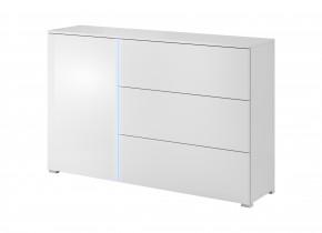 Obývačková komoda Simple (biela, biela lesk)