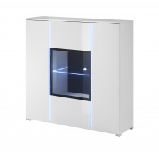 Obývačková vitrína Simple (biela, biela lesk)
