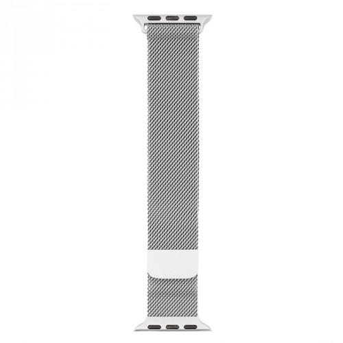 Oceľový magnetický remienok na Apple watch 42/44 mm, strieborný
