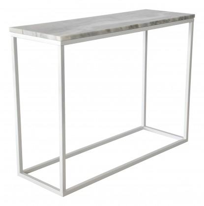 Odkladací stolík Accent - Prístavný stolík, obdĺžnik (mramor, biela)