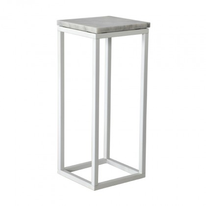 Odkladací stolík Accent - Prístavný stolík, štvorec, nižší (mramor, biela)
