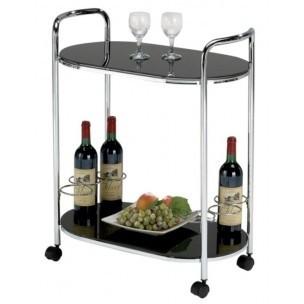 Odkladací stolík Bar 3 (Sklo čierne/Nohy chróm)
