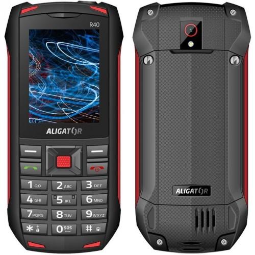 Odolný tlačidlový telefón Aligator R40 eXtremo, čierno-červená