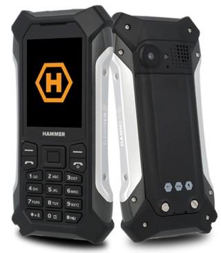 Odolný tlačidlový telefón Hammer Patriot, strieborná