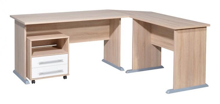 Office - stôl do L, kontajner (dub sonoma / biela)