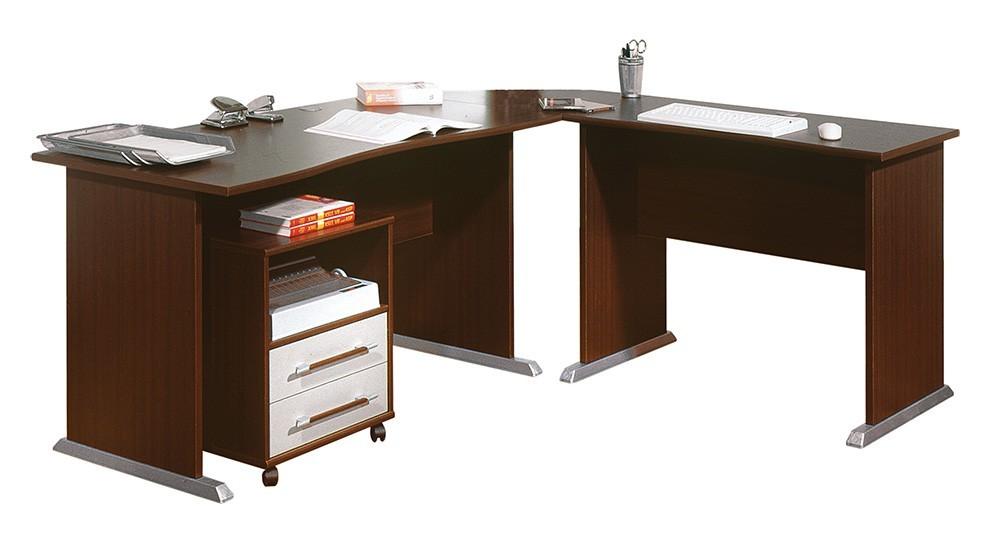 Office - stôl do L, kontajner (wenge)